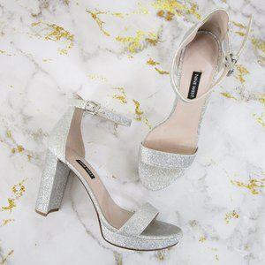 Nine West Silver Glitter Dempsey Ankle Strap Heels